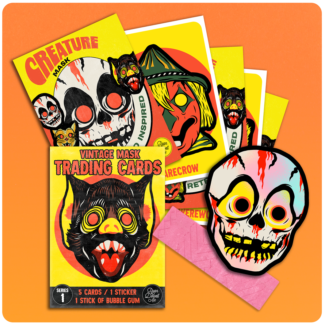 Retro Inspired Halloween Mask Wax Pack Trading Card Set