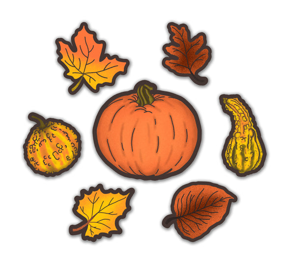 Retro Inspired Autumn Pumpkin, Leaves & Gourds Cutout Decoration Set