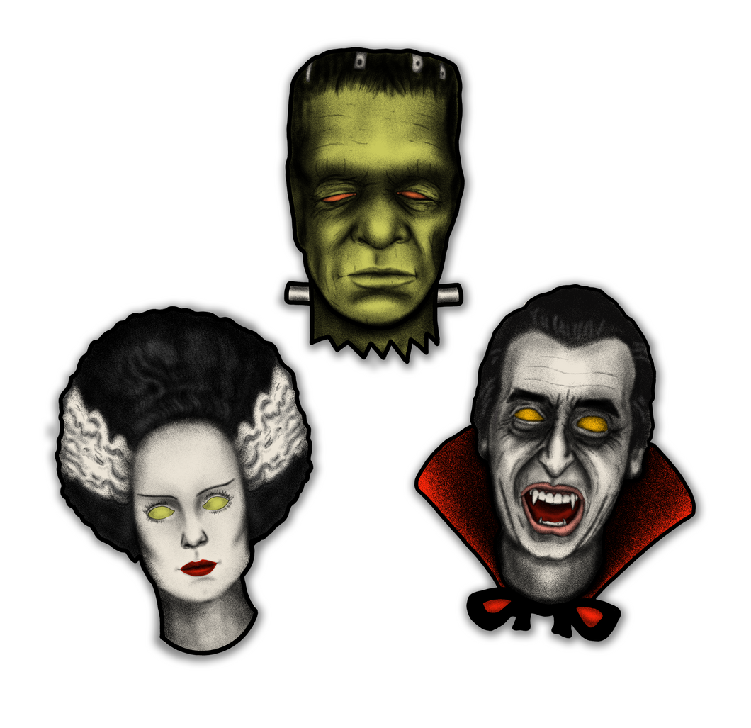 Set of 3 Retro Inspired Halloween Monster Mash Cutout Decorations