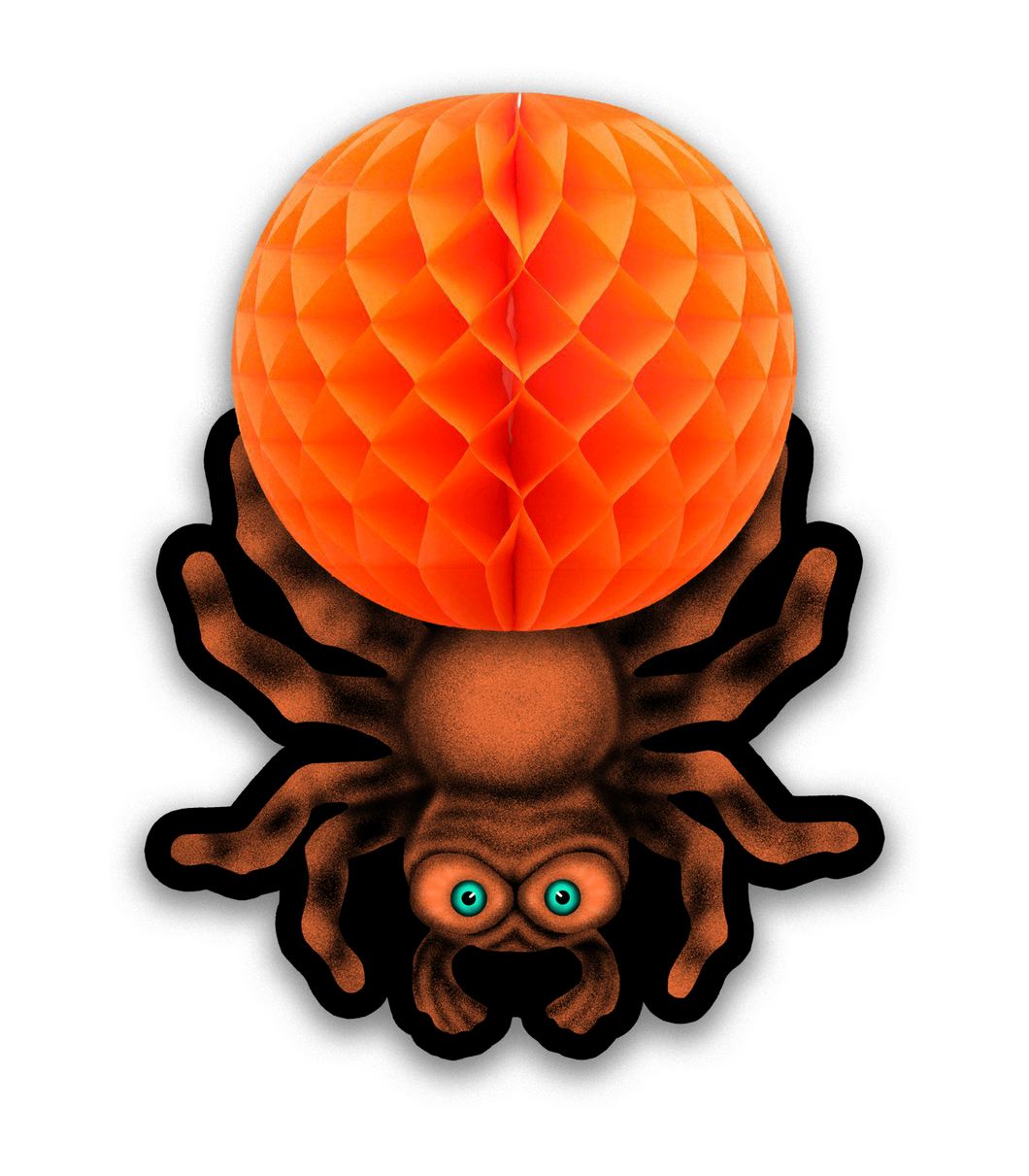 Retro Inspired Hanging Honeycomb Tissue Halloween Spider Cutout Decoration