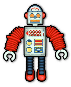 Fully Jointed Retro Robot from Space Cutout