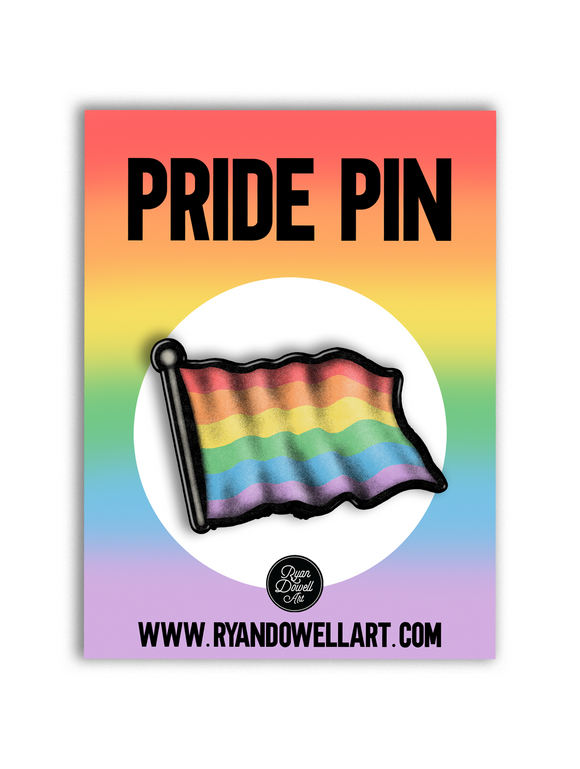 Retro Pride Waving Rainbow Flag Lapel Pin