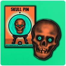 Load image into Gallery viewer, Retro Inspired Creepy Skull Halloween Lapel Pin