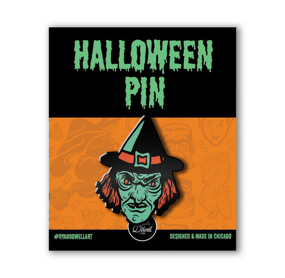 Creepy Glow Witch Head Lapel Pin
