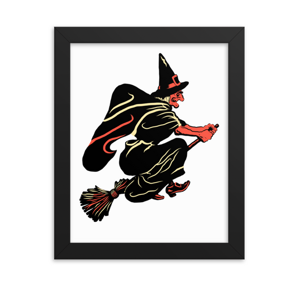 Flying Witch Halloween Art Poster Print
