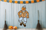 Deluxe Jointed Illuminated Blowmold Halloween Scarecrow Cutout Decoration