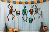 Set of 3 Retro Inspired Halloween Skulls Cutout Decoration Set