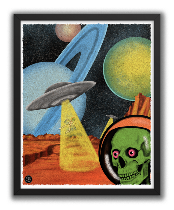 Outer Space Skeleton Abduction Poster Print