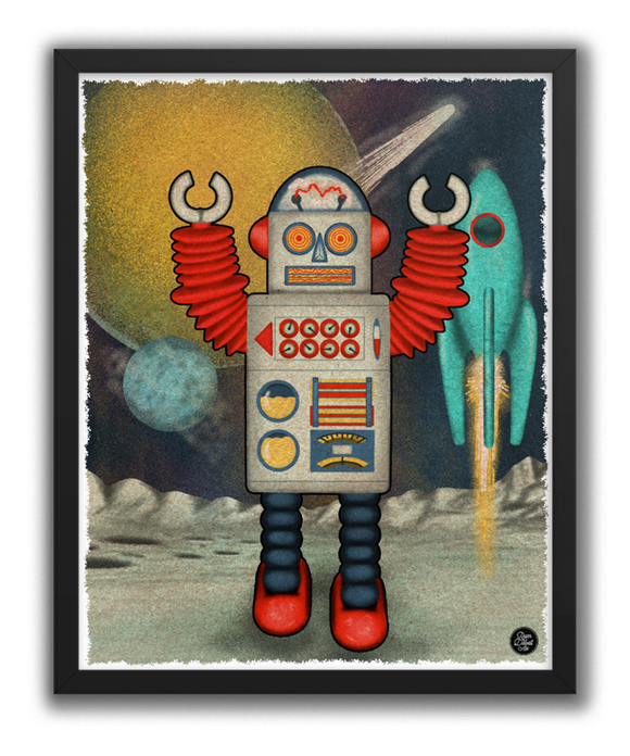 Retro Space Robot Poster Print
