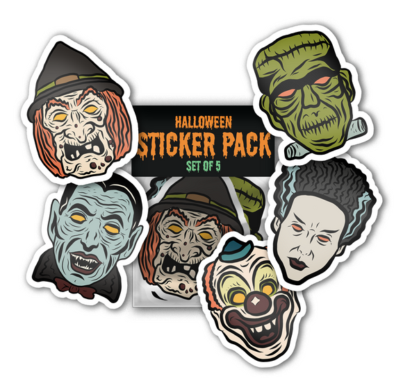 Halloween Jumbo Sticker Pack - Vintage Masks Set of 5