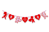 Valentine's Day Retro Inspired Cherubs & Hearts Cutout Banner Decoration