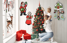 Load image into Gallery viewer, Retro Inspired Hanging Santa's Workshop Christmas Cutout Mobile