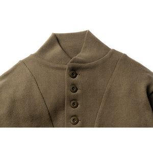 Henley Neck Sweater - Olive