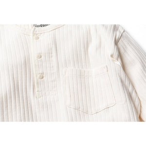 Stripe Thermal Henley - Cream