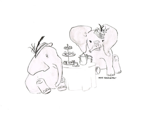 Elephant Tea Party - Original Ink Drawing