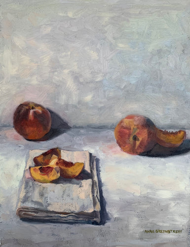 Peaches and Linen - Original Oil Painting