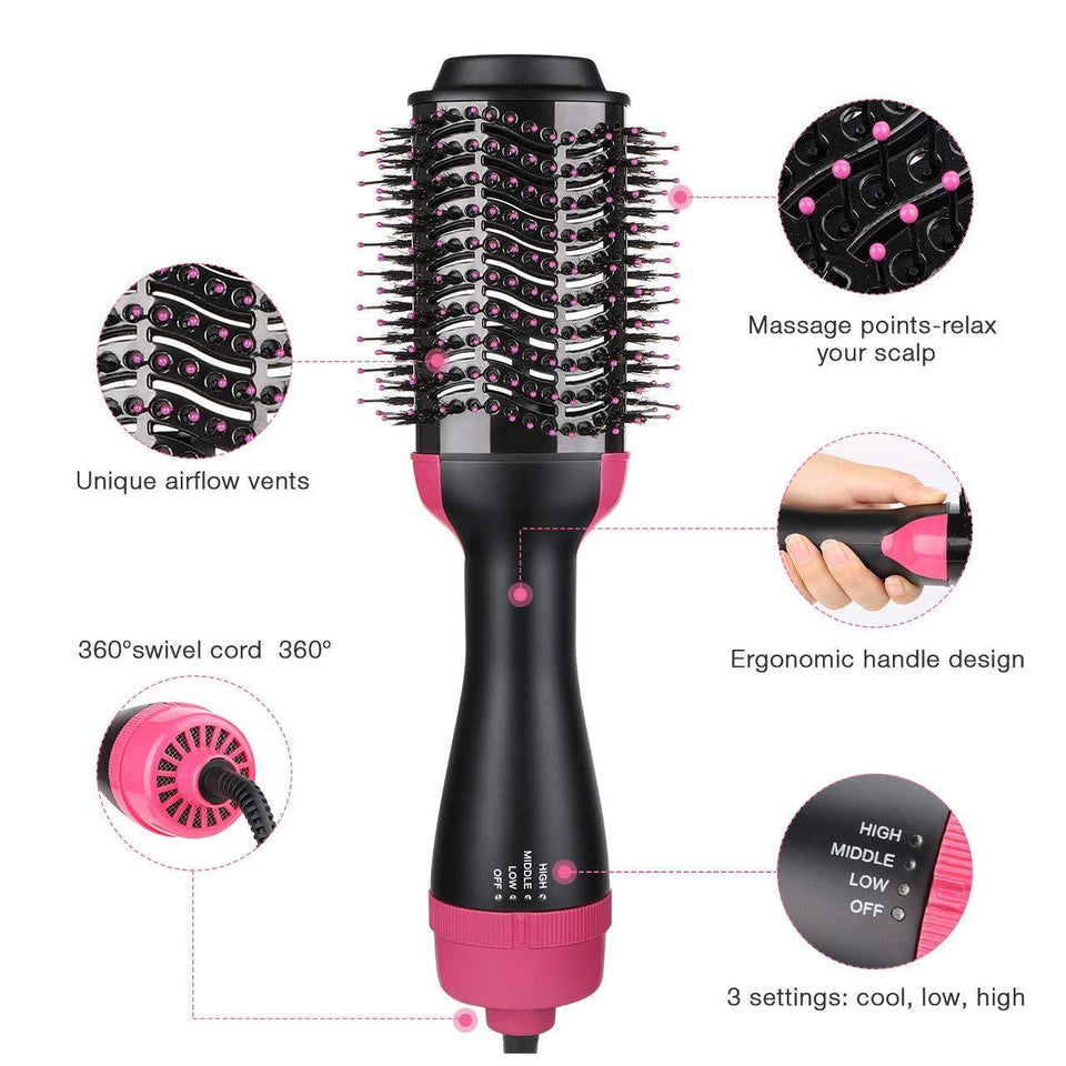 220v 2 IN 1 HAIR DRYER & VOLUMIZER (ROSE RED)