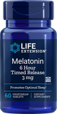 LIFE Extension  Melatonin 6 Hour Timed Release , 3 mg , 60 Vegetarian Tablets