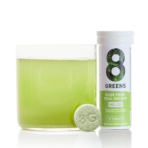 8 GREENS EFFERVESCENT TABLETS IN MELON