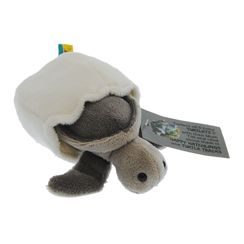 Moonlight – Grey Turtle Hatchling Plush Toy With Attached Soft Egg Shell