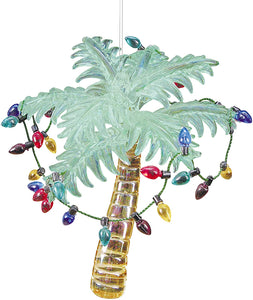 Glass Tropical Palm Tree Ornament with Holiday Lights 4.25 Inches