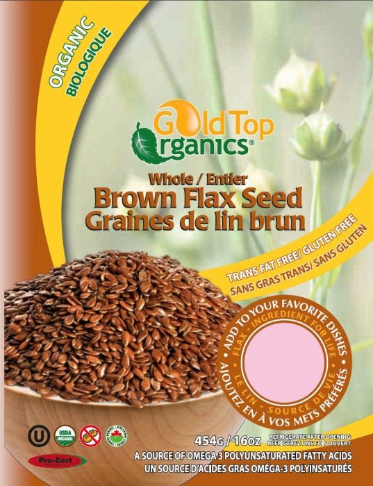 Organic Whole Brown Flax Seed 454g