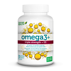 Genuine Health Fish Oil omega3+ TRIPLE STRENGTH + D3 60 capsules