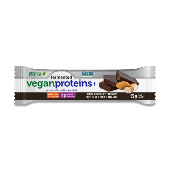 Genuine Health fermented vegan proteins+ dark chocolate almond bar