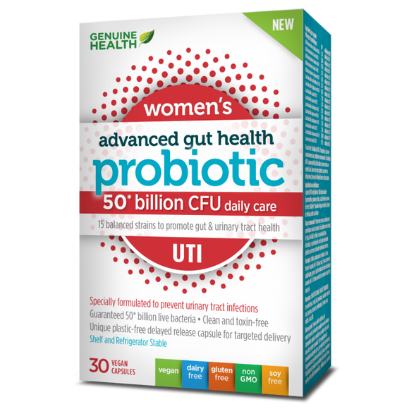 Genuine Health advanced gut health probiotic women's UTI 30s
