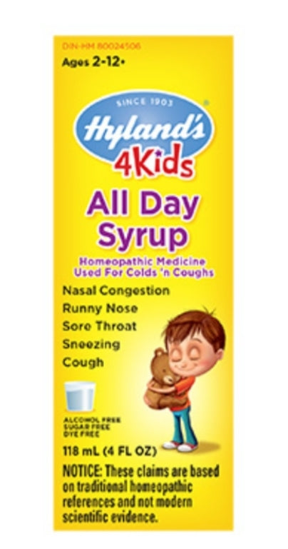 Hyland Homeopathic Medicine 4 Kids Cough and Colds Syrup 4oz
