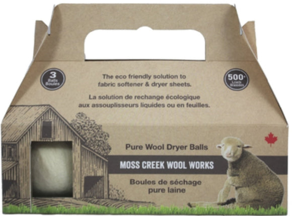 Moss Creek Wool Works Dryer Balls Pack of 3 Natural