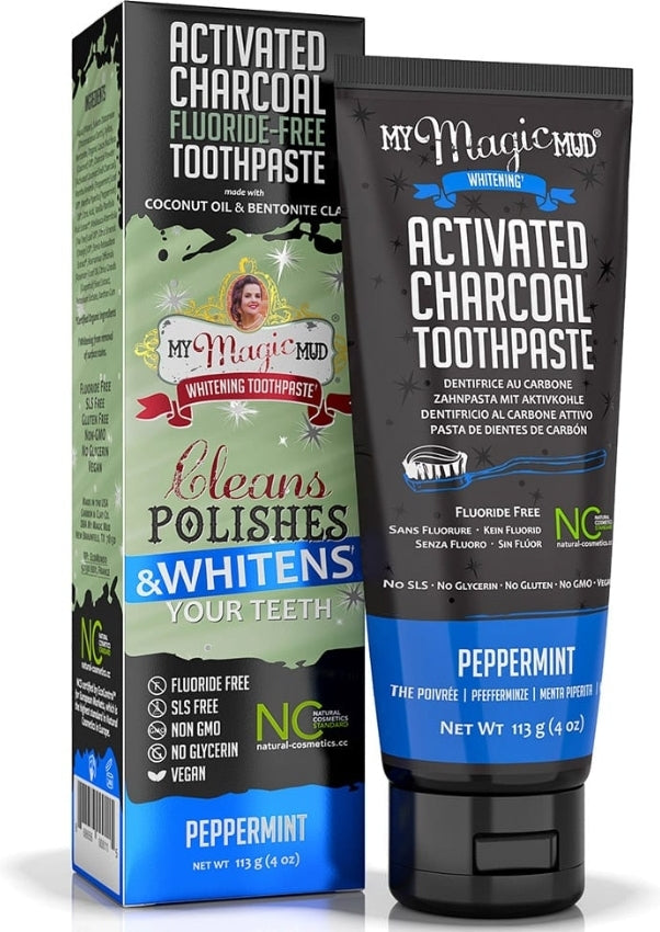 My Magic Mud Activated Charcoal Whitening Toothpaste Peppermint 4oz