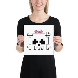 Lady Pixel Skull Poster-Malwear + Co-Malwear + Co
