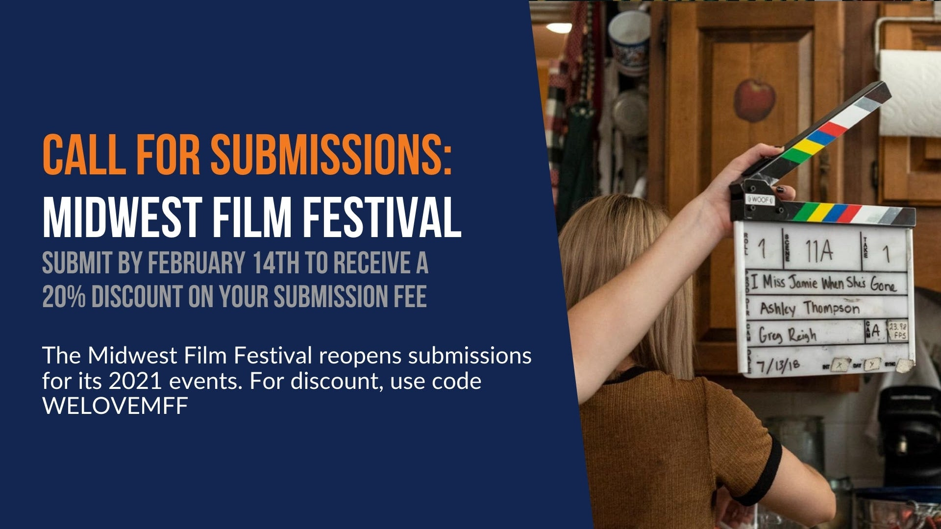 Call for Submissions: Midwest Film Festival. Submit by February 14th to receive a 20% discount on your submission fee. The Midwest Film Festival reopens submissions for its 2021 events. For discount, use code WELOVEMFF