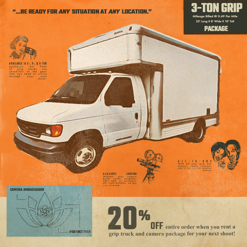 3 ton grip truck package. Get 20% off your entire order when you rent a grip truck and camera package for your next shoot!