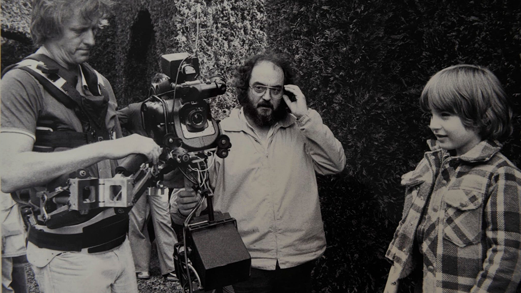 """Garrett Brown & Kubrick on the set of """"The Shining"""" with a Steadicam."""