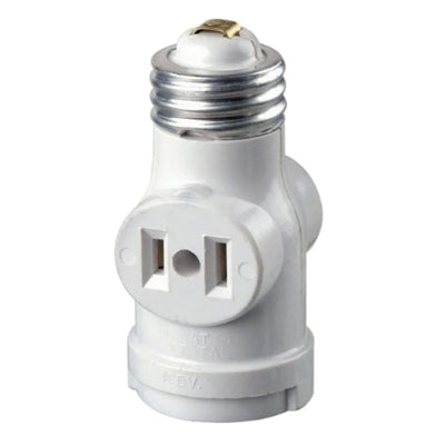 Two Outlet Socket Adapter With Standard Screw Light Holder