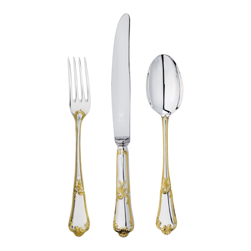 Flower Golden Silverware Set