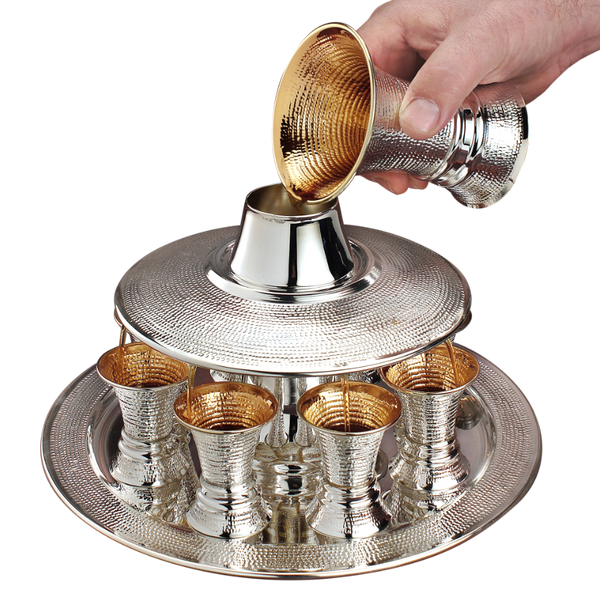 Double Cup Spotted Silver Wine Fountain 8