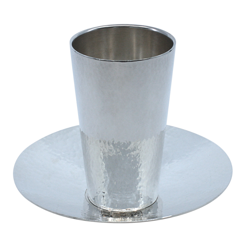 Sloped SIlver Modern Kiddush Cup and Plate