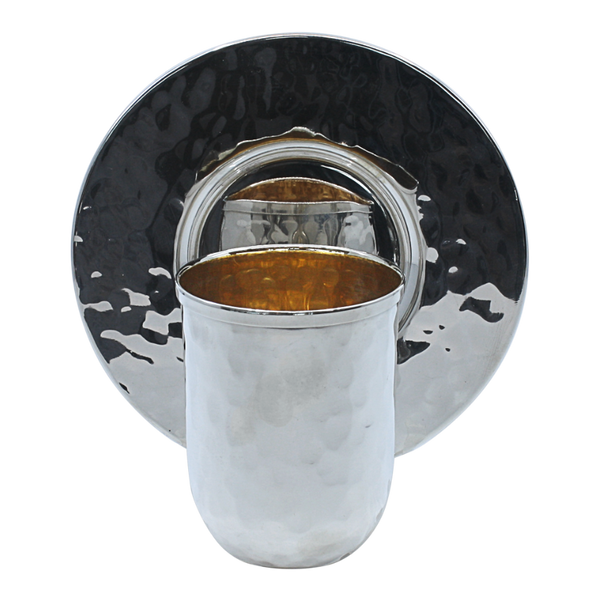 Stretched Silver Hammered Kiddush Cup Set