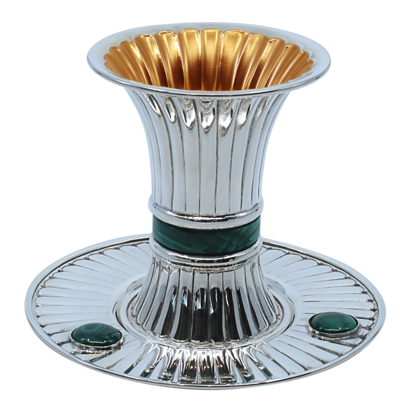 Modern Striped Malachite Kiddush Cup