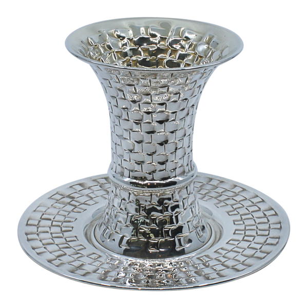 Braided Silver Shabbat Kiddush Cup with Leg