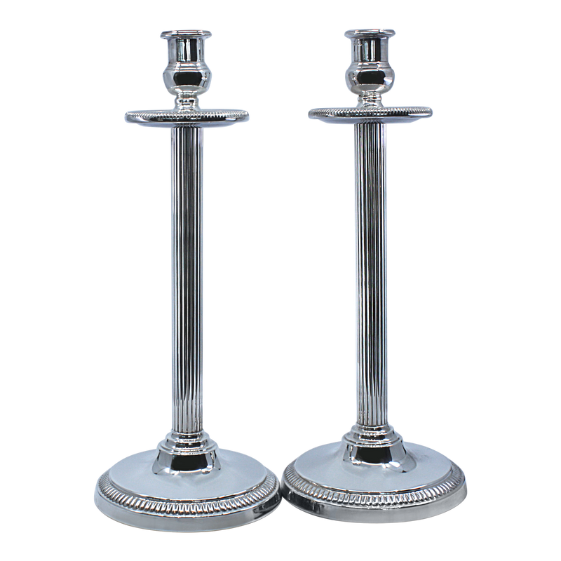 Striped Pipe Shabbat Candlesticks