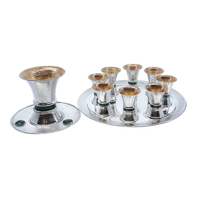 Spotted Malachite Shabbat wine fountain Set