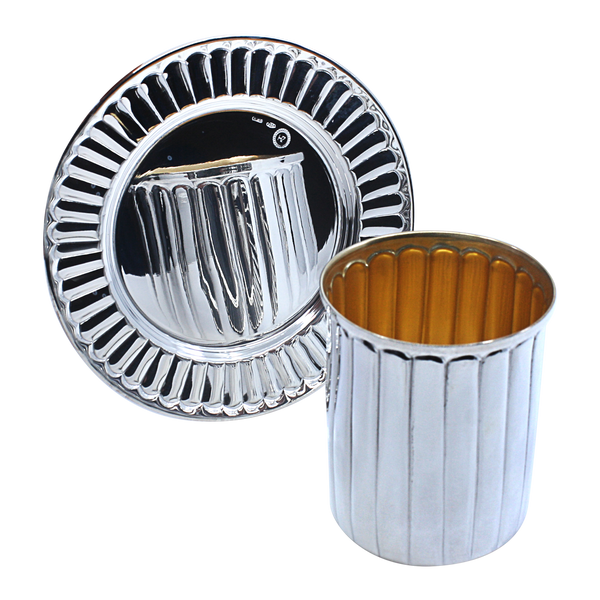 Stripes Silver Kiddush Cup