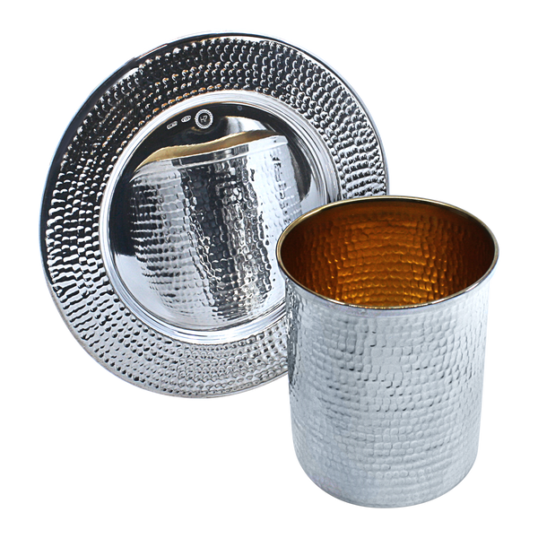 Straight Sterling Silver Kiddush cup, points