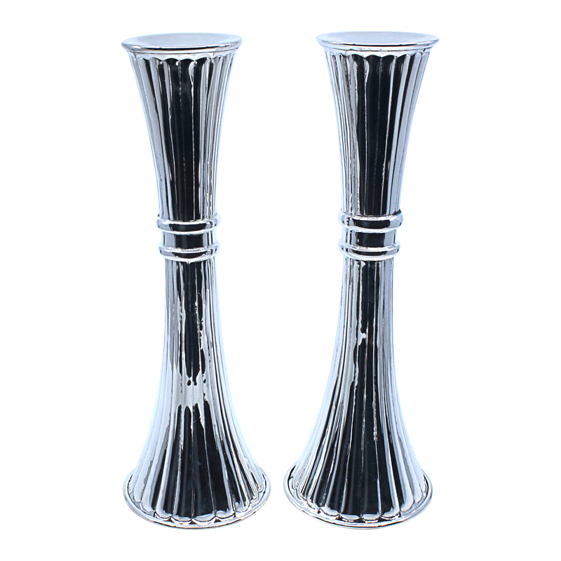 Striped hourglass candlesticks