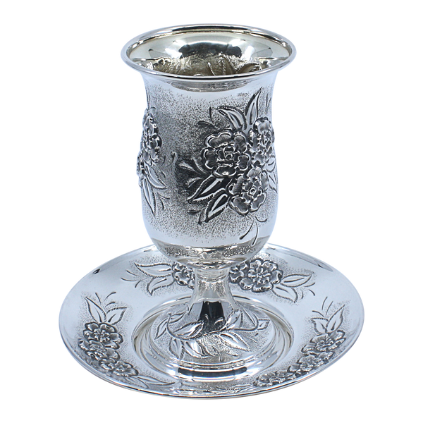 Sterling Silver Kiddush Goblet and Plate Clearance 6894