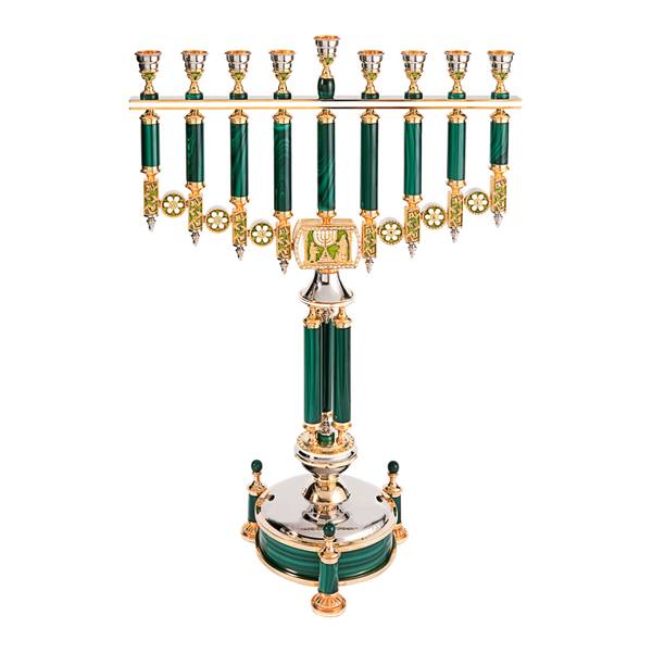 Malachite Hanukkah Menorah